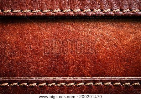 Leather background with excellent texture for design Leather background with excellent texture for design  and a string of threads