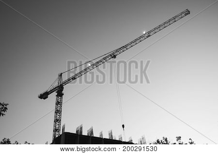 Tower Crane Against The Sky, Jib Crane, View From Below