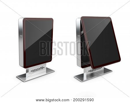 3D Illustration Of Closed And Opened Billboards, Isolated White