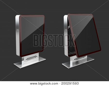 Closed And Opened Billboards, A Black Glass, 3D Illustration Isolated Black