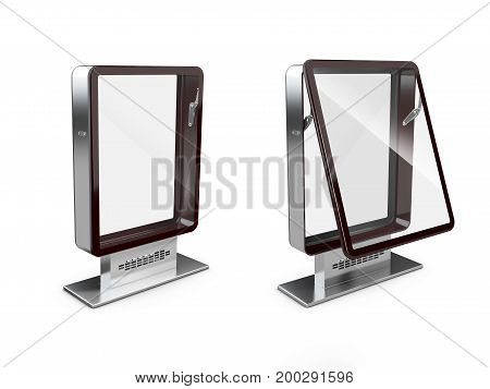 3D Illustration Of Closed And Open Billboards With Transparent Glass, Isolated White