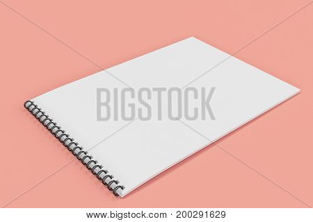 Blank white notebook with black spiral bound on red background. Business or education mockup. 3D rendering illustration