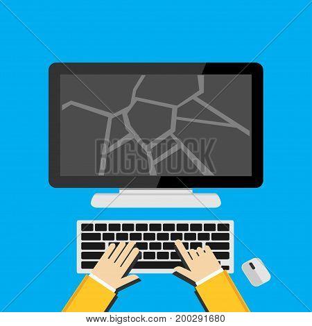 Illustration concept for broken screen or cracked desktop screen.