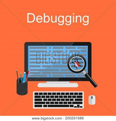 Debugging illustration. Flat design illustration concept for debugging, antivirus, scanning data. Data management