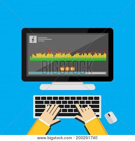 Illustration concept for music player. Media player. Equalizer bar.