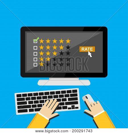 Rating illustration. Rating system on desktop screen. Giving feedback concept.