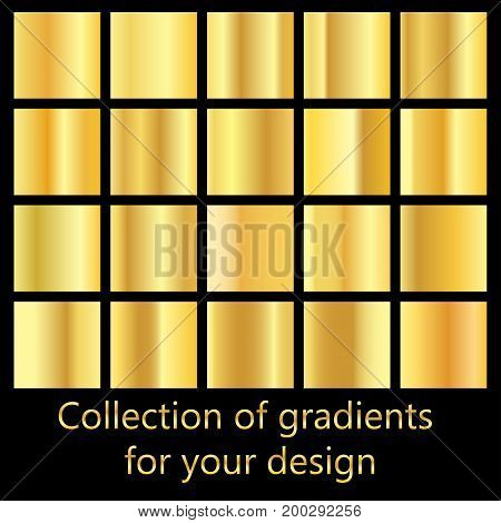Collection of golden gradient backgrounds. Set of metallic textures. Set of colors for design collection of high quality gradients.Metallic texture shiny background.
