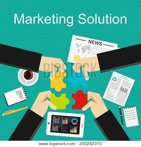 Flat design concepts for marketing solution, decision making, business solution, brainstorming.