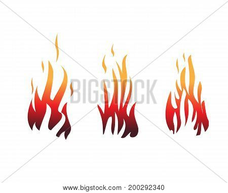 set of flames, flame illustration, icon design, isolated on white background.