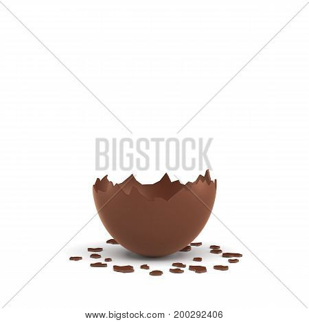 3d rendering of a hollow chocolate egg cracked in half on white background. Surprise. Celebrations and gifts. Unexpected events.