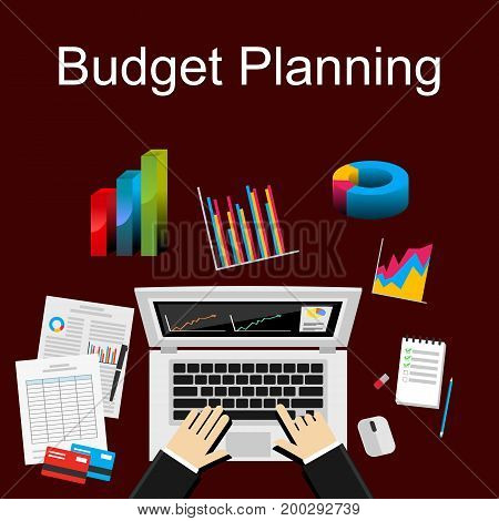 Flat illustration of budget planning, market analysis, financial accounting, business statistics