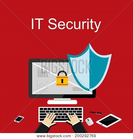Concept for information technology background. Security data protection. Secure access. Antivirus