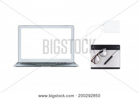 Computer Laptop, Graphic Tablet And External Harddisk Isolated On White Background. Object For Techn
