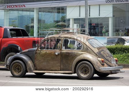 Vintage Private Car, Yellow Of Volkswagen Beetle.
