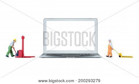 Smart Laptop Computer With White Blank Screen And Miniature Worker People Stand Beside The Laptop Co