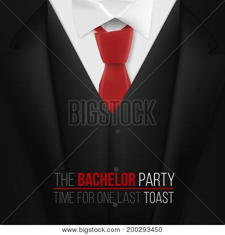 Illustration of The Bachelor Party Invitation Template. Realistic 3D Vector Black Suit with Neck Tie