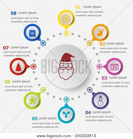 Infographic template with Christmas icons, stock vector