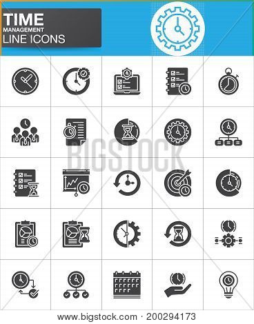 Time management vector icons set, modern solid symbol collection, filled style pictogram pack. Signs, logo illustration. Set includes icons as timer, stopwatch, clock, time management, history, backup