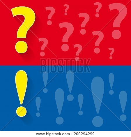 question and answer, abstract illustration in red and blue