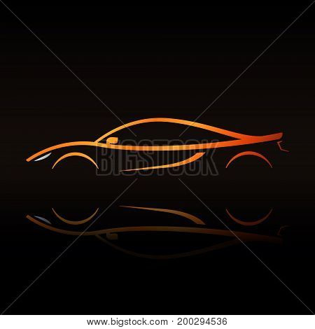 Supercar orange outline. Elegant sign for your company brand or any auto related things.