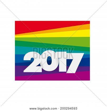 Creative text 2017 on rainbow background, illustration