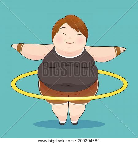 Fat woman with hula hoop twirling Idea Concept With Icon Design Vector Illustration 10 EPS