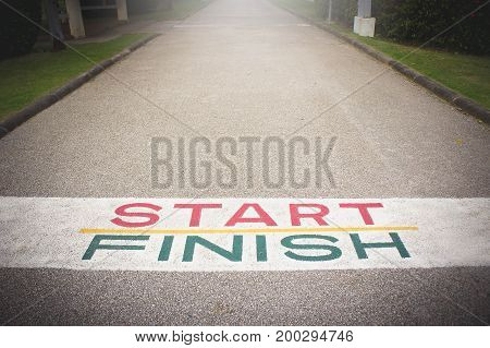 Start line to finish line. The path to victory