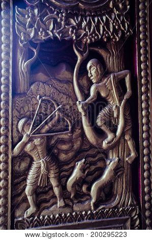 Thailand 6 Aug 2017 at In a temple in Udon Thani. Sculptures paintings in various temples that reflect the Thai culture.