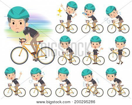 Black Shortsleeved Shirt Short Beard Man_rode Bicycle