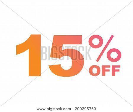Vector Luxury Gradient Pink To Orange Fifteen Percent Off Special Discount Word Text