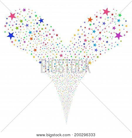 Confetti Star salute stream. Vector illustration style is flat bright multicolored iconic confetti star symbols on a white background. Object fountain created from random icons.