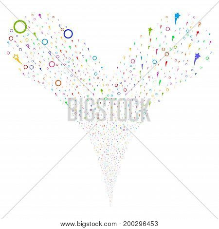 Confetti Stars source stream. Vector illustration style is flat bright multicolored iconic confetti stars symbols on a white background. Object fountain combined from random pictographs.