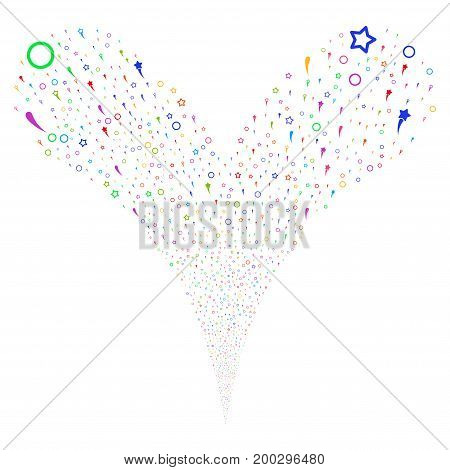 Confetti Stars fireworks stream. Vector illustration style is flat bright multicolored iconic confetti stars symbols on a white background. Object fountain done from random pictograms.
