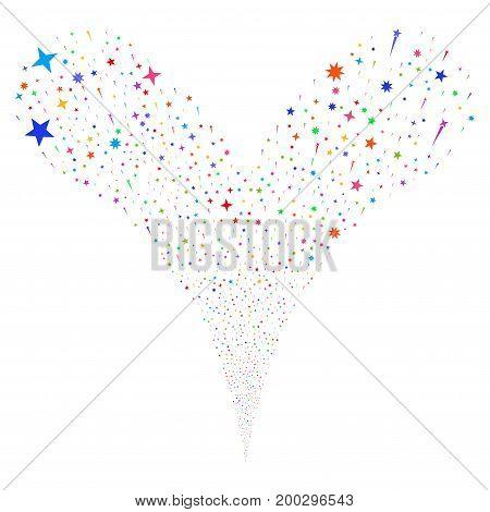 Confetti Stars salute stream. Vector illustration style is flat bright multicolored iconic confetti stars symbols on a white background. Object fountain done from random symbols.
