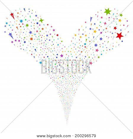 Confetti Stars source stream. Vector illustration style is flat bright multicolored iconic confetti stars symbols on a white background. Object fountain constructed from random design elements.