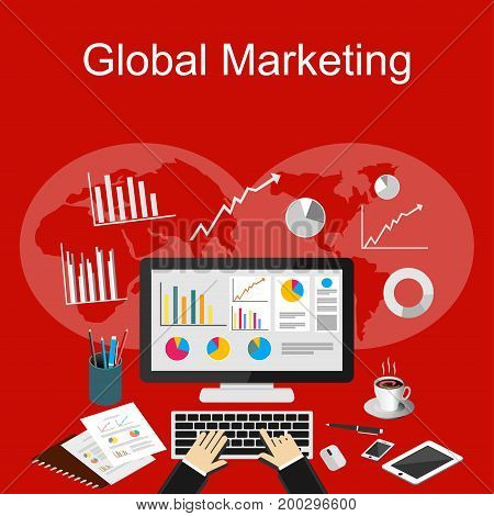Global marketing illustration. Flat design illustration concepts for business planning, business finance, business strategy, business statistics, business investment.