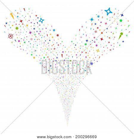 Confetti Stars source stream. Vector illustration style is flat bright multicolored iconic confetti stars symbols on a white background. Object fountain created from random pictograms.