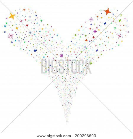 Confetti Stars fireworks stream. Vector illustration style is flat bright multicolored iconic confetti stars symbols on a white background. Object fountain made from random design elements.