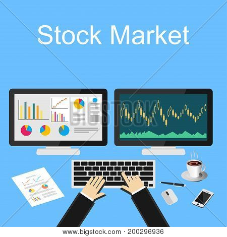Stock market illustration. Trading desk. Design illustration concepts for business trading, management finance, business strategy, business statistics, investment.