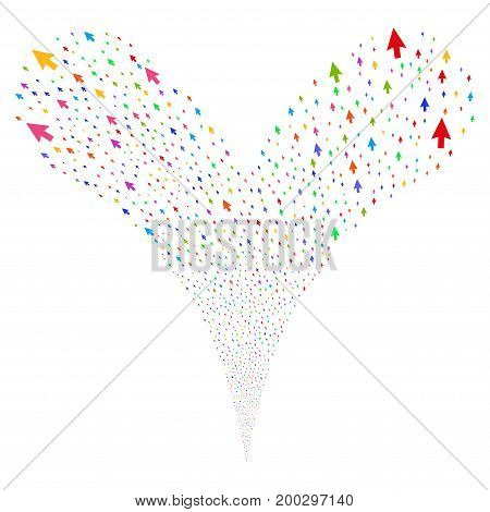 Cursor Arrow source stream. Vector illustration style is flat bright multicolored iconic cursor arrow symbols on a white background. Object fountain constructed from random pictographs.