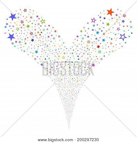 Decoration Stars source stream. Vector illustration style is flat bright multicolored iconic decoration stars symbols on a white background. Object fountain done from random design elements.
