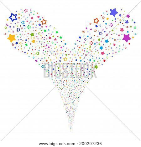 Decoration Stars fireworks stream. Vector illustration style is flat bright multicolored iconic decoration stars symbols on a white background. Object fountain created from random pictograms.