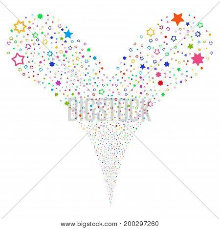 Decoration Stars salute stream. Vector illustration style is flat bright multicolored iconic decoration stars symbols on a white background. Object fountain organized from random pictograms.