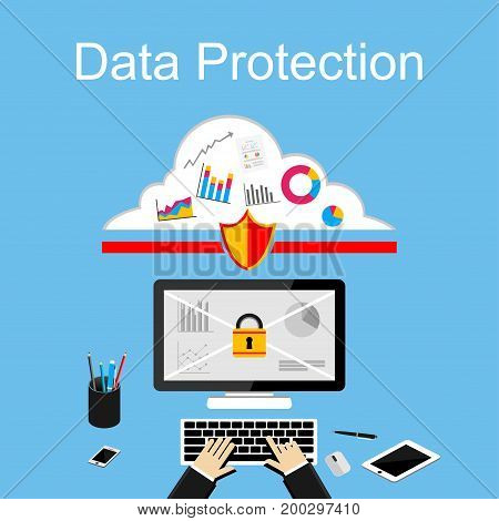 Data protection illustration. Flat design illustration concepts for data security, internet security, secure internet access, secure online storage