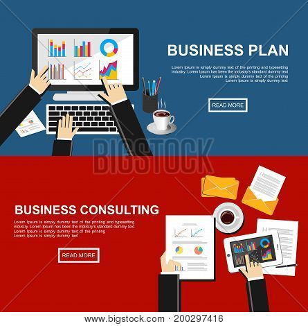 Banner for business plan and business consulting. Flat design illustration concepts for finance, business management, business solution, business statistic, marketing consulting, data analytics