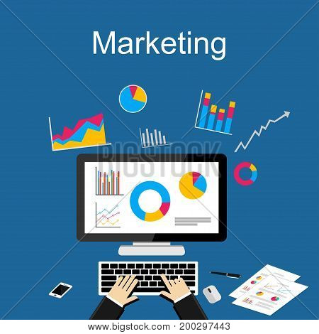 Marketing or business growth illustration. Flat design illustration concepts for finance, business statistics, analysis, marketing, financial report.