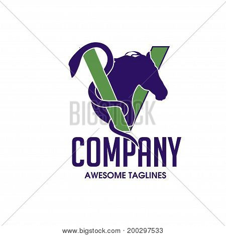 Horse Head Design with letter V as veterinary Vector Image