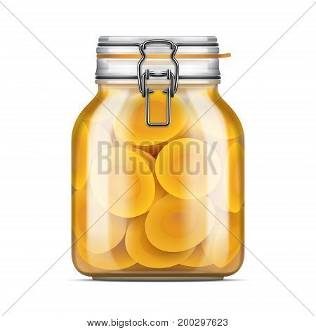 Vector Swing Top Bale Glass Jar Filled With Sliced Peaches In Juice. Realistic Mockup Illustration.