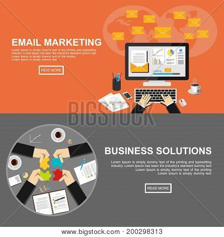 Banner for email marketing and business solutions. Flat design illustration concepts for email marketing, business management, analysis marketing, business solution, teamwork, decision making.