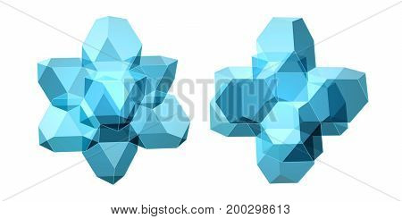 Vector Set Of Views Of Transparent Complex Geometric Shape Based On Two Tetrahedrons. Two Types Of P